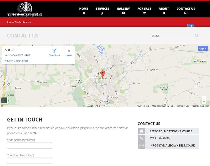 Dynamic Wheels Ltd. Contact page