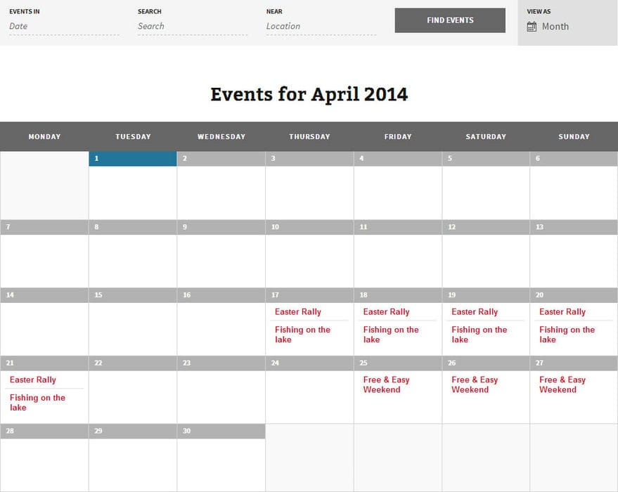 The Caravan Club - Lincolnshire Centre Calendar page